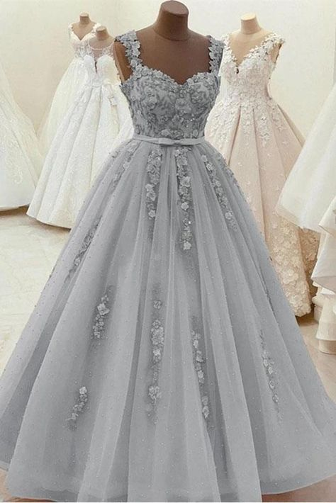 Gorgeous Sweetheart Neck Beaded Gray Floral Lace Prom Dress, Grey Floral Lace Formal Dress, Gray Evening Dress