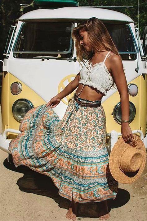 Amelie Midi Skirt Provence Amelie Midi Skirt in Provence - Arnhem Clothing Boho Summer Outfits, Boho Outfits, Fashion Outfits, Cute Hippie Outfits, Boho Fashion Summer, Coachella Fashion Bohemian, Gypsy Style Outfits, Hippie Style Summer, Bohemian Summer Dresses