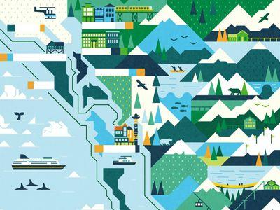 Travel Alaska Illustration Illustrated Map Alaska Travel