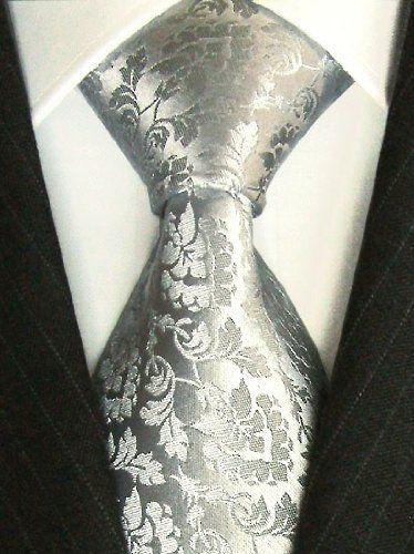 LORENZO CANA Luxury Tie Extralong XL Jacquard Woven Italian Silk Handmade Necktie Ties White Dotted Pattern
