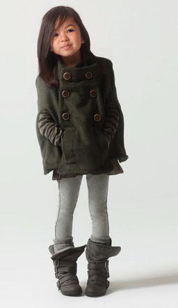 Ideas for fall layering toddler girl clothing. Neutral gray leggings, short dress, coat.