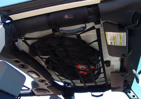 Overhead Cargo Net Storage Jeep Wrangler Interior Jeep Wrangler Jeep Wrangler Camping