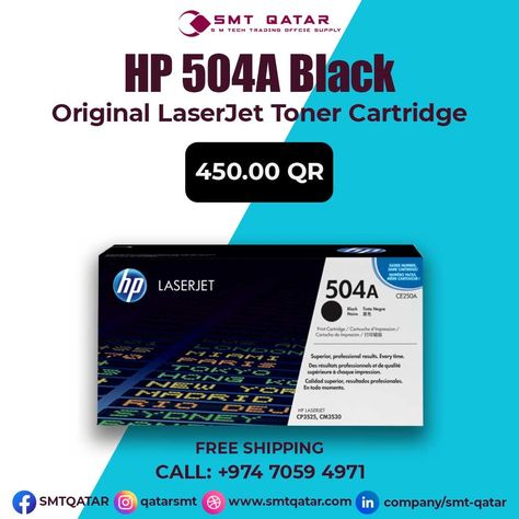 HP 504A Black Original LaserJet Toner Cartridge with free shipping all over Qatar.