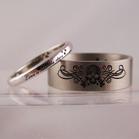 laser engraved skull & stars wedding rings