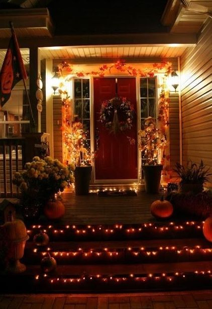 Rarr Halloween Decorations Lights I Love The Steps In This Picture What A Gre Fall Halloween Decor Halloween Outdoor Decorations Halloween Yard Decorations