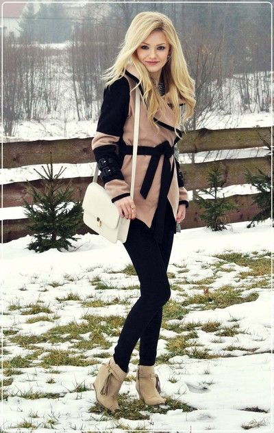 winter outfit. leggings, ankle boots, black and tan jacket