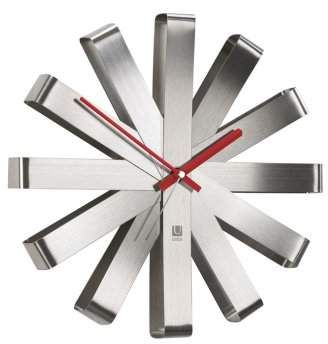Another Good Looking Silver Accent For Your Decor Umbra Ribbon Wall Clock Stainless Steel Contemporary Wall Clock Wall Clock Modern Unique Wall Clocks