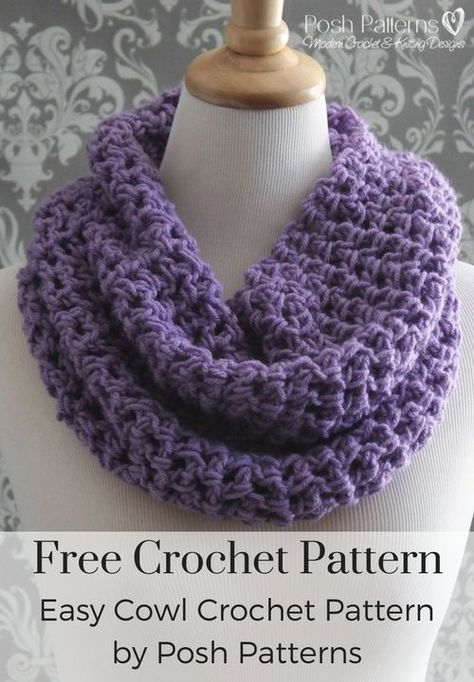 Free Crochet Cowl Patterns Free Crochet Pattern - An easy crochet pattern for a pretty lacy cowl scarf. Makes a fabulous fall and winter accessory and is perfect for gift giving! By Posh Patterns. Crochet Infinity Scarf Pattern, Crochet Scarf Easy, Crochet Cowl Free Pattern, Crochet Poncho, Easy Crochet Patterns, Crochet Scarves, Crochet Granny, Infinity Scarf Patterns, Sock Loom Patterns
