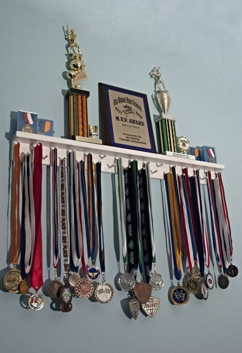 Riley could REALLY use this! -- 3 Ft Trophy and Award Medal Display Rack - Medal Awards Rack Trophy Shelf, Trophy Display, Award Display, Display Medals, Race Medal Displays, Boy Room, Kids Room, Medal Rack, Ribbon Display