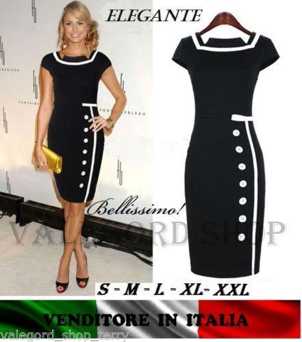 064d8481a989 Dress-abito-anni-50-tubino-vintage-retro-robe-BOTTON-nero-ELEGANTE-donna -vestito