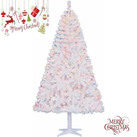 6 5 Ft Pre Lit Christmas Tree Stand Madison Pine White Multi Color