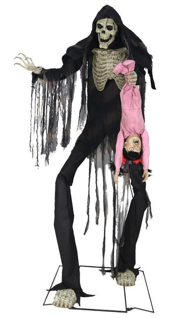 TOWERING BOOGEY MAN with KID Animated Halloween Prop Decoration