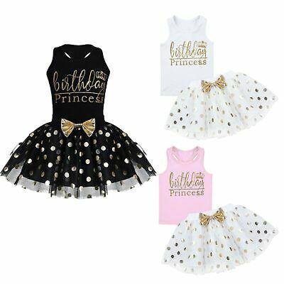 Baby Kids Girls Dress Outfit Birthday Princess Party Polka Tutu Skirt Clothes