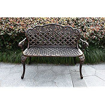 Homefun Cast Aluminum Outdoor Garden Bench Tea Rose Loveseat Weather Resistant Backyard Patio Furniture Love Seat Furniture Loveseat Backyard Patio Furniture