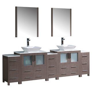 Fresca Torino 96 Inch Grey Oak Modern Double Sink Bathroom Vanity