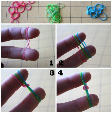 Single Rubbe Band Bracelet with Fingers Only Tuto - Bracelet Rainbow Loom seulement avec les doigts