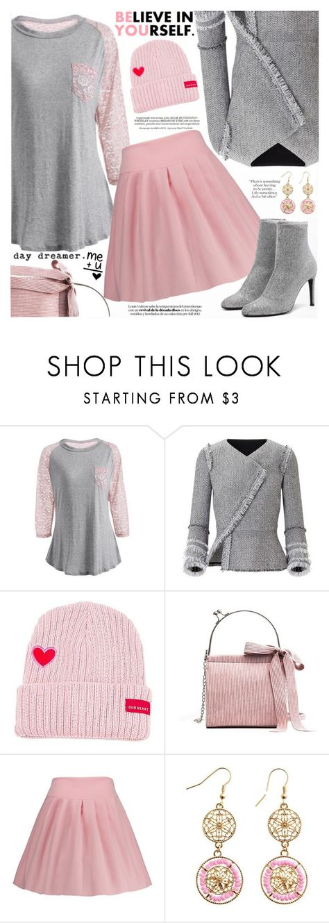 """Pink and Gray"" by katjuncica ❤ liked on Polyvore featuring Roland Mouret, Whiteley, PinkBag, lacetop, pinkandgray, pinkskirt and colorblocktop"