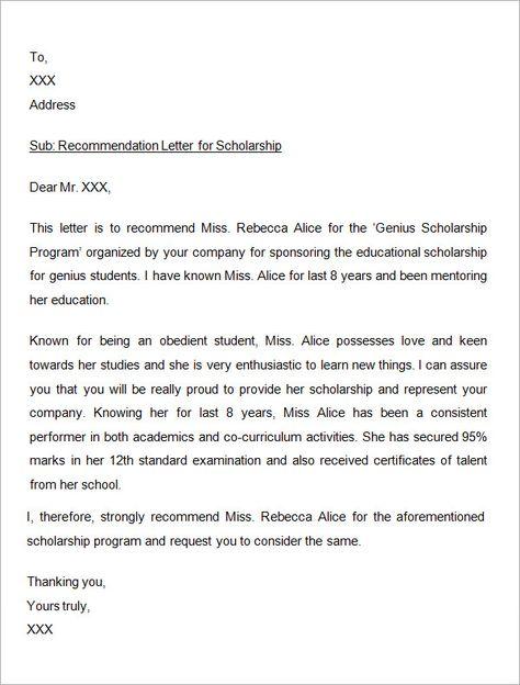 Sample Letter of Recommendation for Scholarship - 29+ Examples in - recommendation letter for graduate school