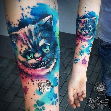 ✨ #ewasroka ✨ #cheshire #cat #cheshirecat #cheshirecattattoo #disneytattoo #pawstattoo #cattattoo #a - ewasrokatattoo