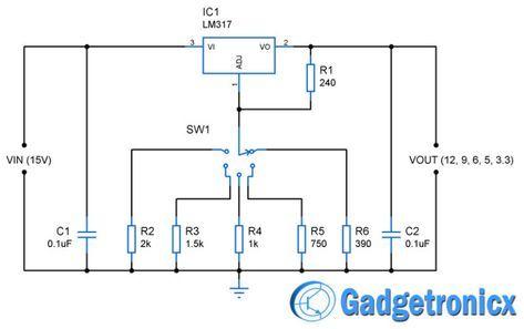 12v 9v 6v 5v 3 3v Multiple Voltage Power Supply Circuit Circuito Elettronico Cablaggio Elettrico Elettronica