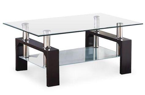 VIRREA Rectangular Glass Coffee Tables Shelf Wood Living ...