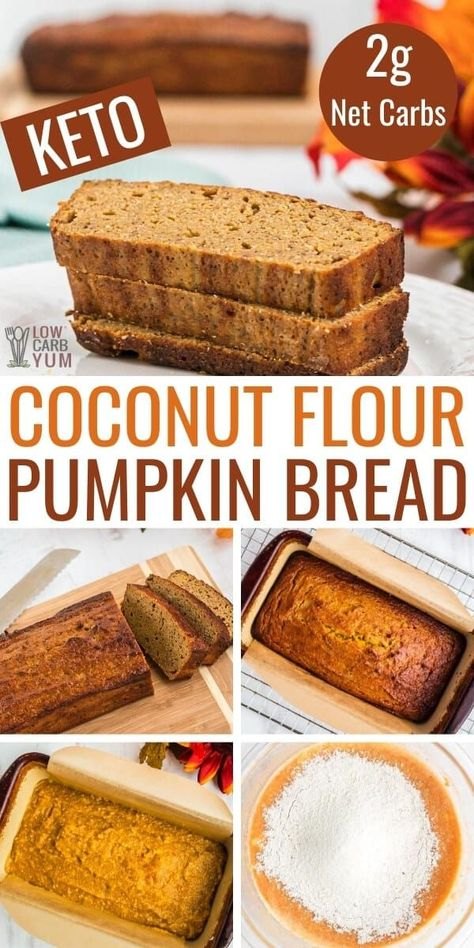 Low Carb Sweets, Low Carb Desserts, Low Carb Recipes, Dessert Recipes, Healthy Bread Recipes, Banana Bread Recipes, Healthy Breakfasts, Dinner Recipes, Coconut Flour Bread