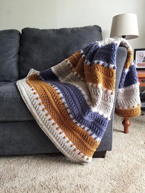 Plaid Au Crochet, Crochet Throw Pattern, Crochet Afghan Patterns, Blanket Crochet, Crocheted Afghans, Afghan Blanket, Diy Afghan, Crochet Stitches For Blankets, Ripple Afghan