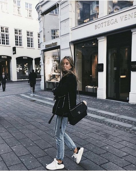 Fall outfit Streetstyle Coat Jeans Sneakers Autumn Inspiration More on Fashionchick