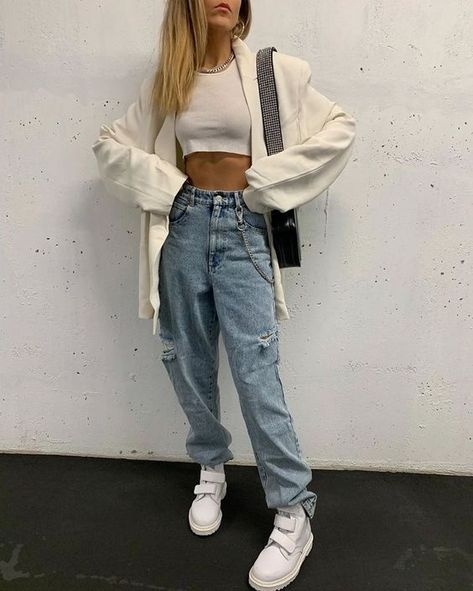 Edgy Outfits, Cute Casual Outfits, Mode Outfits, Look Fashion, 90s Fashion, Fashion Outfits, Hijab Style Tutorial, Mode Simple, Quoi Porter