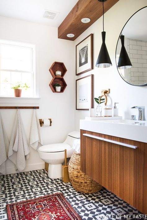 Makeover Of The Guest Bathroom In A Very Cool Style Bathroom