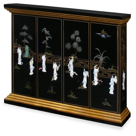 Black Lacquer Maidens Motif Wall Tv