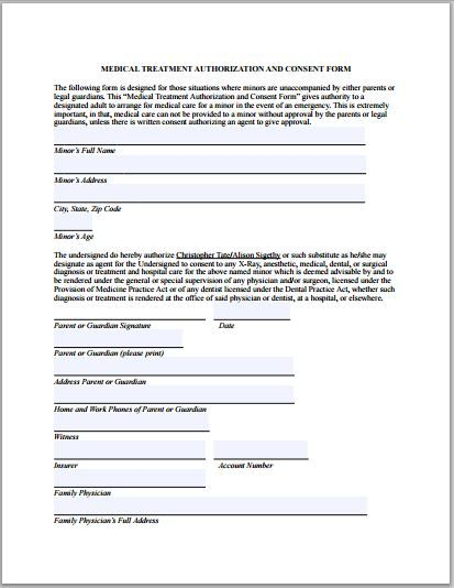 Medical Authorization Forms Consent Forms Medical Consent Form