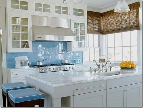 White Cabinets Gl Doors Marble Countertops Blue Tile