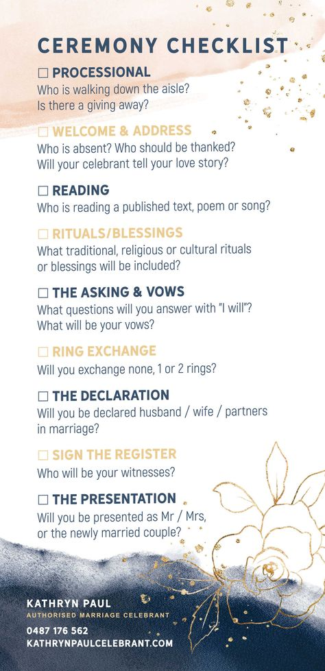 This is a guide to a basic traditional order of service for an Australian weddin. This is a guide to a basic traditional order of service for an Australian wedding ceremony. Couples and celebrants are w.