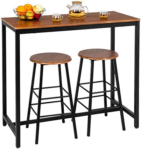 New Bonnlo 3 Piece Counter Height Table Set Kitchen Bar Table Set 2 Stools Breakfast Bistro Set Dining Table Set 2 Online Shopping Prettytoppro In 2020 Counter Height Table Sets