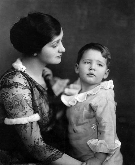 Hedda Hopper with son, DeWolf Hopper Jr. better known as William Hopper.  This is the future Paul Drake sporting ruffles at about 3 years old..