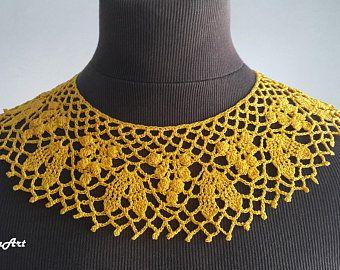 Neck Accessory 100/% Cotton Spicy Mustard Colour /& Yellow Handmade Crochet Collar