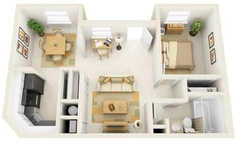 50 One \u201c1\u201d Bedroom Apartment/House Plans PLAN MAISON Pinterest - plan maison avec appartement