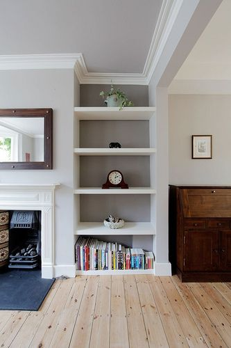 FarrowBall (Elephant's Breath  Charlston Grey): gray walls with white trim and white shelves