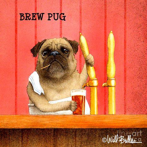 DOG ART PRINT A Pug and a Kiss Will Bullas