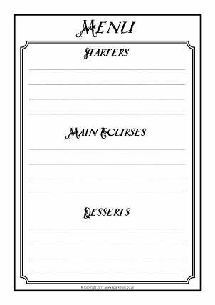 Menu Writing Frames And Printable Page Borders Ks1 Amp Ks2