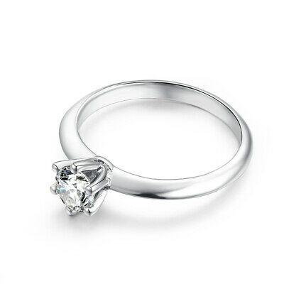 5mm Round 0 5ct Moissanite Prong Setting Gemstone Solitaire Ring 10k White Gold In 2020 Gemstone Solitaire Ring Gemstones Solitaire Ring