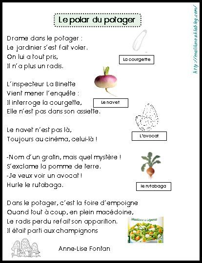 Poesie Le Polar Du Potager Poesie Ecole Poesie Ce1