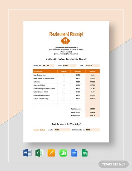 Simple Restaurant Receipt Template Free Pdf Word Doc Excel Apple Mac Pages Apple Mac Numbers Receipt Template Word Doc Templates