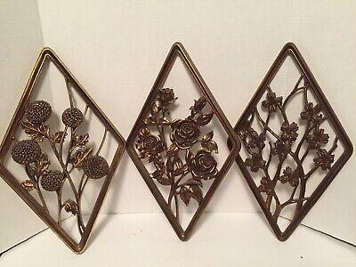 3 Vintage Syroco Diamond Shape Floral Wall Hanging Art Plaques Gold Plastic Mcm Ebay Art Plaque Floral Wall Hanging Art