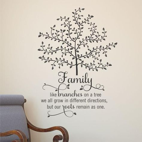 Family - like branches on a tree we all grow in different directions, but our roots remain as one. This is such a pretty design for a family room, living room, entryway, or gallery wall. The swooping script paired with the branches and leaves come together to create a memorable - and impressionable