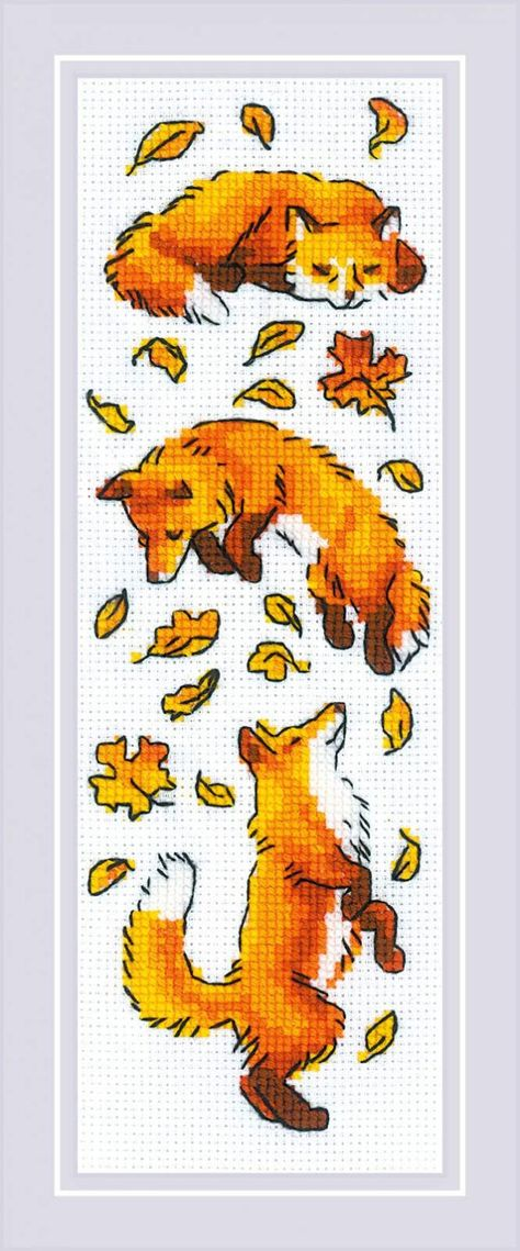 Foxes in the Leaves - easy cross stitch kit * Aida and floss included