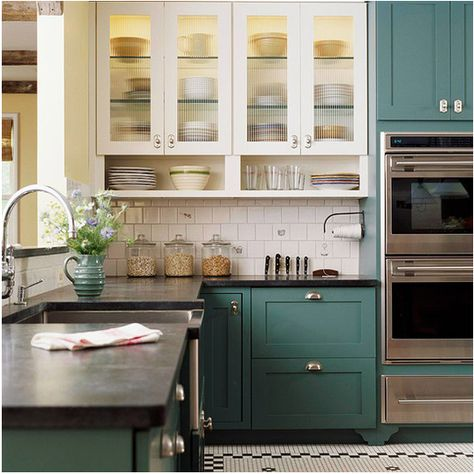 Two tone kitchen cabinets! Love that bottom color for something different!!