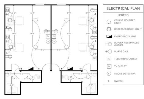 create electrical plan examples like this template called electrical plan -  patient room that you can easily edit and customize in minutes