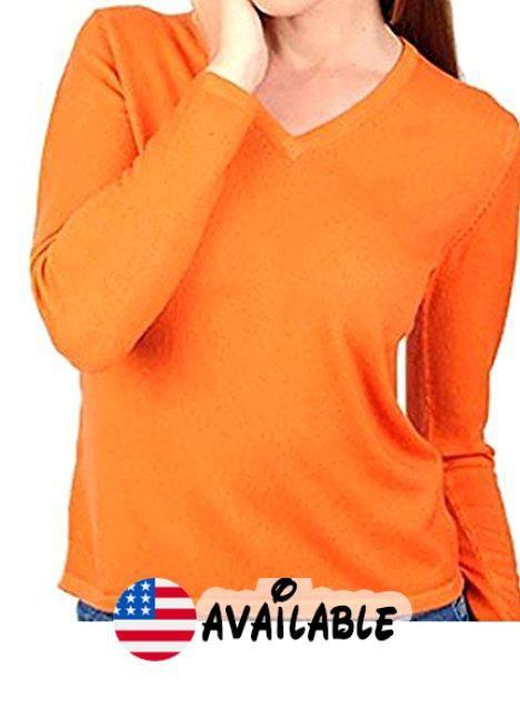 Balldiri 100/% Cashmere Kaschmir Damen Pullover Rundhals 2-f/ädig orange